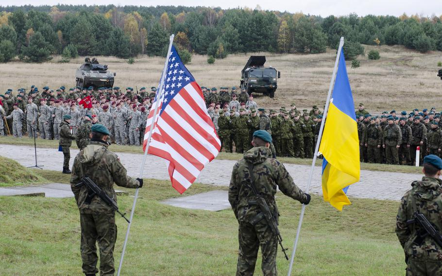 Paratroopers from the 173rd Infantry Brigade Combat Team (Airborne) stand in formation with partner nations at a Transfer of Authority ceremony in Poland on Oct. 27, 2013. The U.S. Army is supporting Steadfast Jazz 13 with participation from the 173d IBCT(A), one of U.S. Army Europe's forward-based combat brigades and the 1st Heavy Brigade Combat Team, 1st Cavalry Division, the U.S.-based ground force contribution to NATO Response Force 2014.
