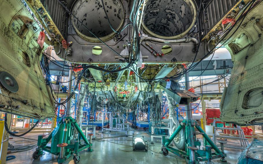 A Tornado jet manufactured by BAE Systems for the United Kingdom's Royal Air Force undergoes a wiring test.