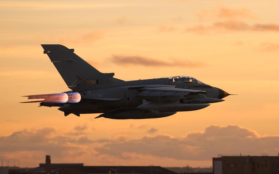 A Tornado jet manufactured by BAE Systems for the United Kingdom's Royal Air Force takes off in this undated photo.