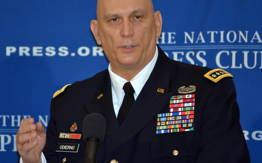 U.S. Army Chief of Staff Gen. Ray Odierno speaks during a media event in January 2014. Odierno has expressed concern over the United Kingdom's plans to cut its defense spending.