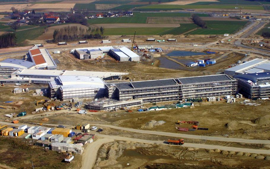 In this Army file photo from April 2008, construction projects including schools, a child-care center and chapel, are seen at Grafenwoehr's Netzaberg Village.