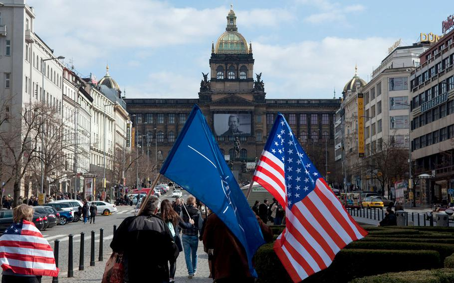 A sizable pro-American, pro-NATO gathering formed in Prague on Saturday, March 28, 2015, to counter protests against the crossing of an American military convoy through the Czech Republic.