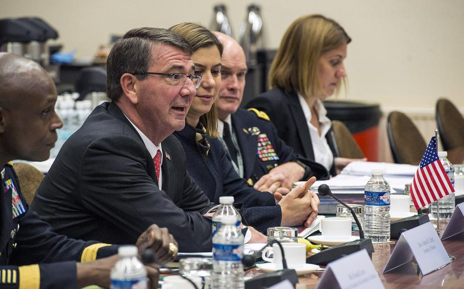 Secretary of Defense Ash Carter meets with Jason Kenney, Canadian Minister of National Defense (not pictured) at NATO Headquarters in Brussels on June 24, 2015. Carter is participating in his first NATO ministerial as defense secretary.