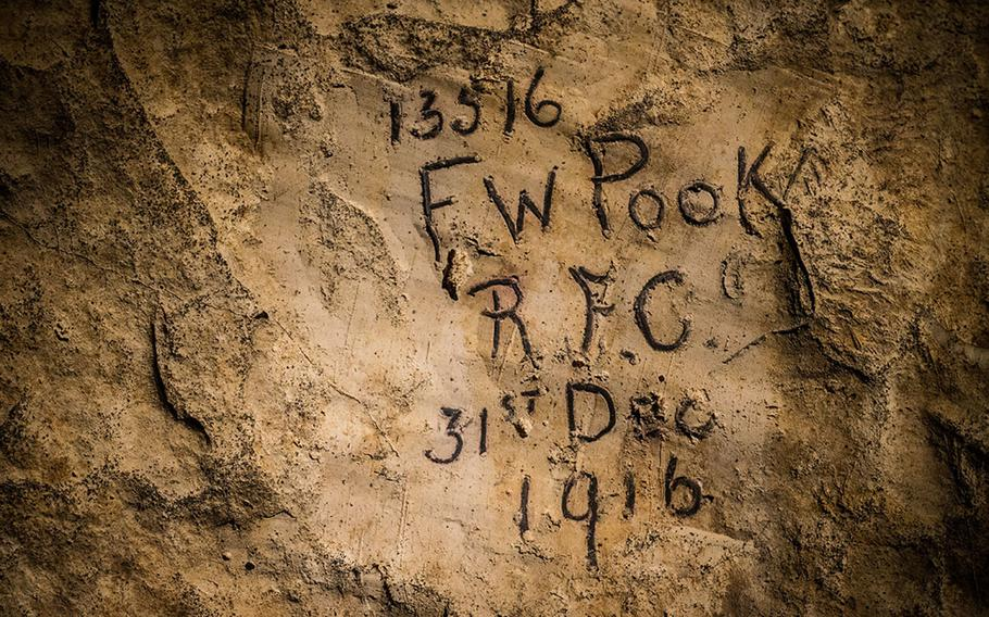 WWI soldiers inscriptions in the subterranean city at Naours – Bocage Hallue.