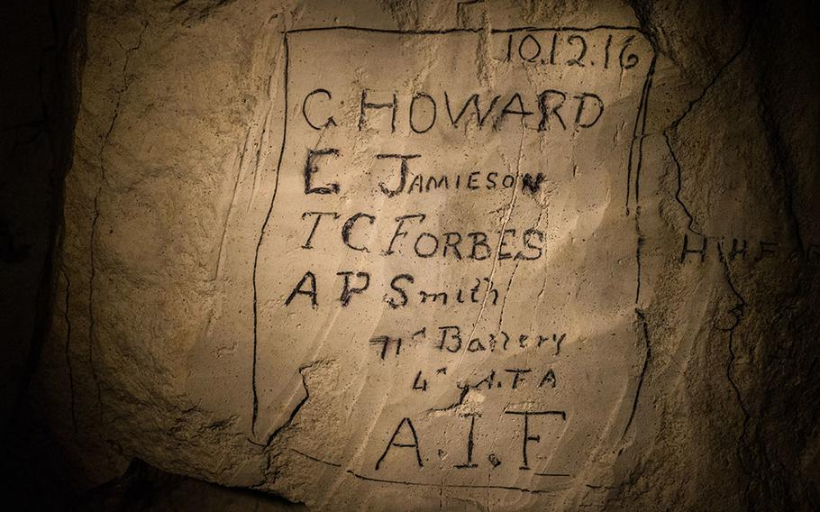 WWI soldiers inscriptions in the subterranean city at Naours - Bocage Hallue.