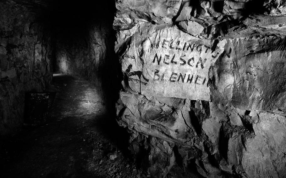 Street sign in underground WWI city. Photographed 26 January 2014. Nord-Pas-de-Calais, France.