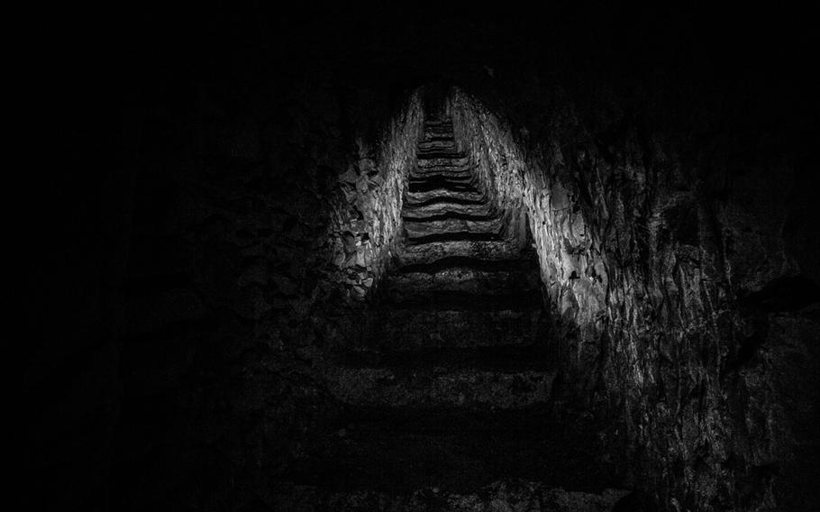 Stairway from an underground city to the trenches. Photographed 26 January 2014.  Nord-Pas-de-Calais, France.