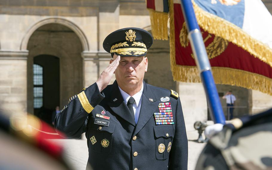 U.S. Army Chief of Staff, Gen. Ray Odierno, salutes during a ceremony at Hotel des Invalides, Paris, France, on July 10, 2015. Odierno was on a four-day tour of Europe where he visited Soldiers in training, U.S. Army Europe leadership, and dignitaries in four countries.
