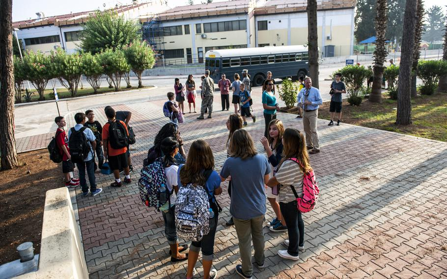 Children gather for the first day of school at Incirlik Air Base, Turkey, on Aug. 26, 2013.  The Defense Department has announced on Tuesday, March 29, 2016, that it will start the evacuation all 670 dependents from the base for force-protection reasons.