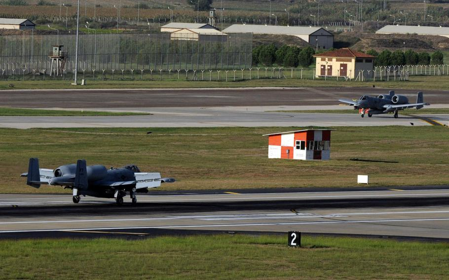 Two A-10C Thunderbolt II attack aircraft taxi down the flight line after landing at Incirlik Air Base, Turkey, Oct. 15, 2015. The aircraft are deployed to Turkey in support of the coalition effort against the Islamic State and Operation Inherent Resolve.