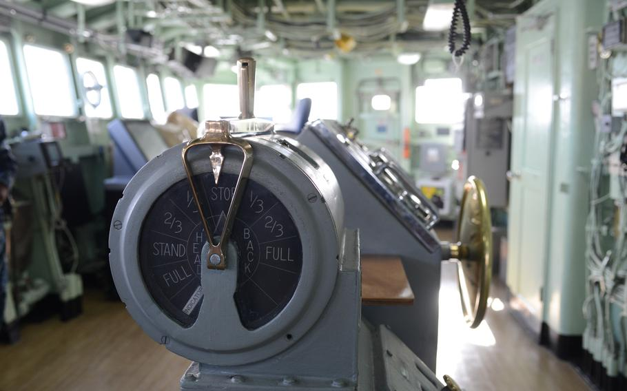 The engine order telegraph on the bridge of the USS Mount Whitney, flagship of U.S. 6th Fleet. Commissioned in 1971 and crewed largely by civilian mariners, the Mount Whitney serves as a floating operations center for fleet commanders, allowing them to direct Navy surface ships, submarines and aircraft from international waters.