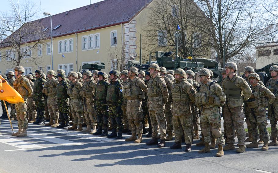Soldiers with Battle Group Poland stand in formation during the Battle Group Poland Departure Ceremony, March 25, 2017, in Vilseck, Germany.