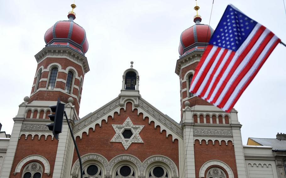 An American flag hanging at the entrance to the Great Synagogue of Pilsen, Czech Republic, Friday, May 5, 2017. The city of Pilsen celebrates the American liberation of their city during World War II with more than a dozen memorials and hundreds of flags throughout the city.