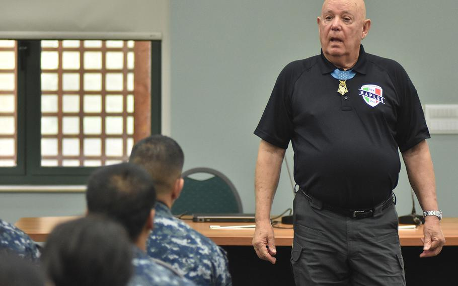 Gary Littrell wears his Medal of Honor on May 12, 2017, while he talks to servicemembers and ROTC students at the military bases in Naples, Italy.