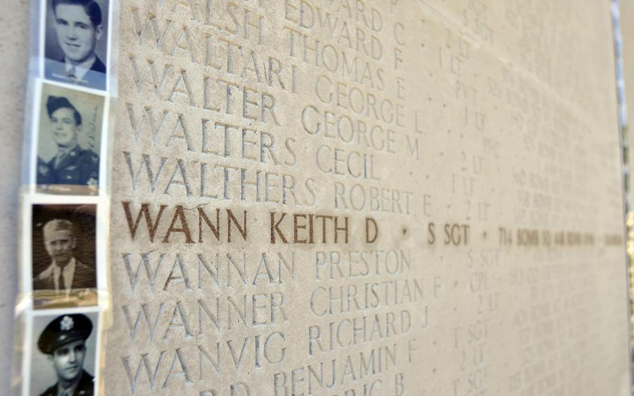 A photograph of Sgt. Keith Wann on the Wall of the Missing at the Cambridge American Cemetery and Memorial in Cambridge, England, Friday, May, 26, 2017. More than 4,000 photographs of veterans were placed for the Faces of Cambridge Memorial Day weekend.
