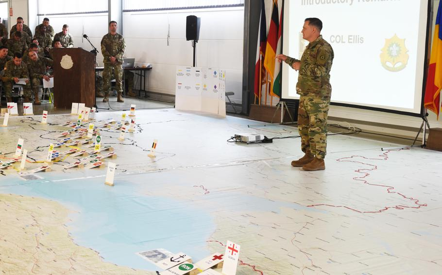 Col. Patrick Ellis, commanding officer of the U.S. 2nd Cavalry Regiment, addresses soldiers at the rehearsal of concept drill for Exercise Saber Guardian, at Vilseck, Germany,  Friday, June 9, 2017.