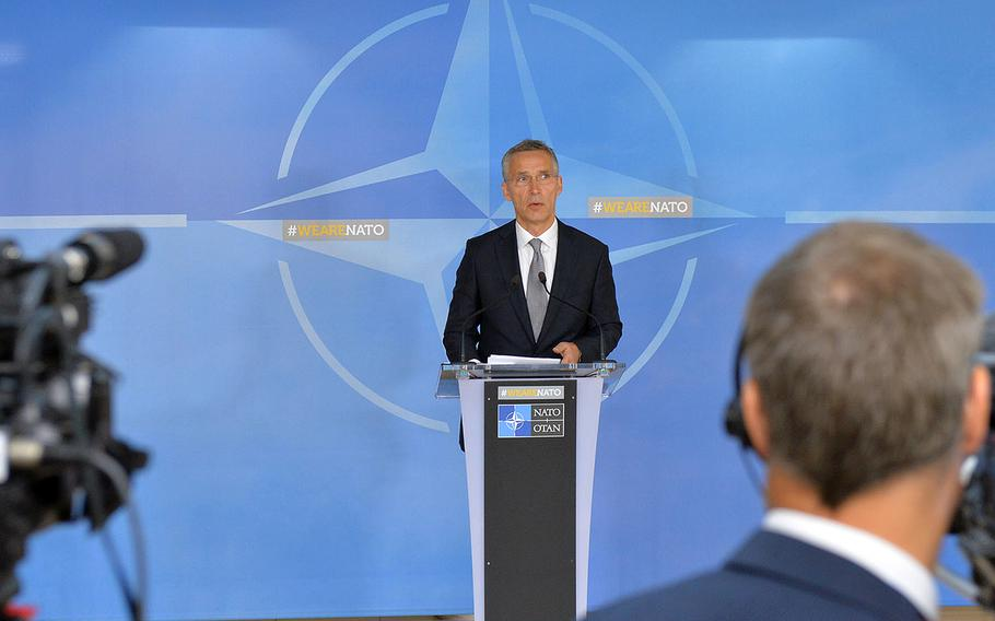 NATO Secretary-General Jens Stoltenberg holds his doorstep statement at the start of the meetings of NATO defense ministers in Brussels, Thursday, June 29, 2017.