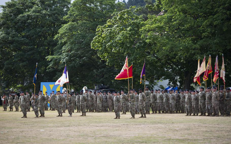 Soldiers stand in formation during the 21st Theater Sustainment Command change-of-command ceremony at Daenner Kaserne, Germany, on Friday, June 30, 2017. Maj. Gen. Steven Shapiro took over command from Maj. Gen. Duane Gamble.