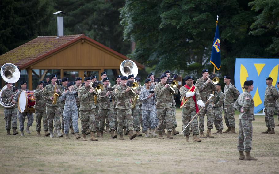 The U.S. Army Europe Band performs during the 21st Theater Sustainment Command change-of-command ceremony at Daenner Kaserne, Germany, on Friday, June 30, 2017.