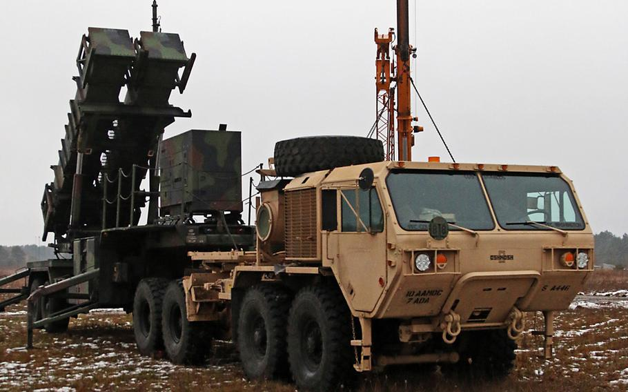 Soldiers assigned to A Battery, 5th Battalion, 7th Air Defense Artillery Brigade began setup of their M901 Patriot Launching Stations for Patriot Shock, a deployment readiness exercise, Jan. 13, at Skwierzyna, Poland.