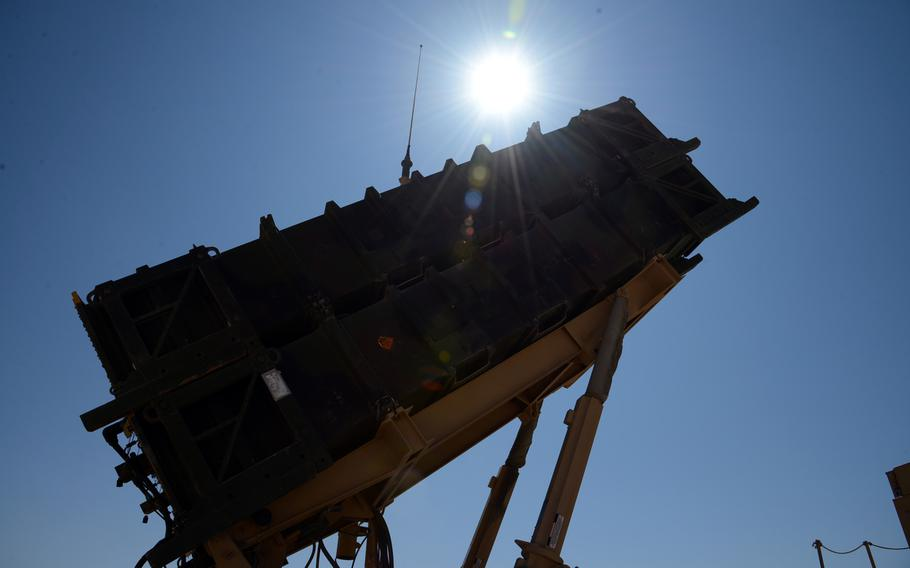A Patriot missile launcher stands ready at a Turkish army base in Gaziantep, Turkey on Nov. 2013.