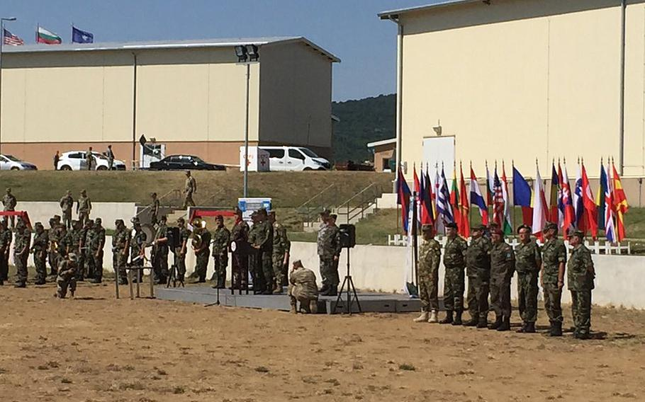 The opening ceremony for Saber Guardian at Novo Selo Training Area, Bulgaria, on Tuesday, July 11, 2017. U.S. Army Europe's largest exercise of the year formally started Tuesday, commencing two weeks of drills involving 25,000 troops from more than 20 nations.