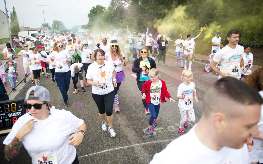 Runners take off from the starting line during the annual Color Run at Ramstein Air Base, Germany, on Saturday, Aug. 12, 2017. Nearly 400 people participated in the run.