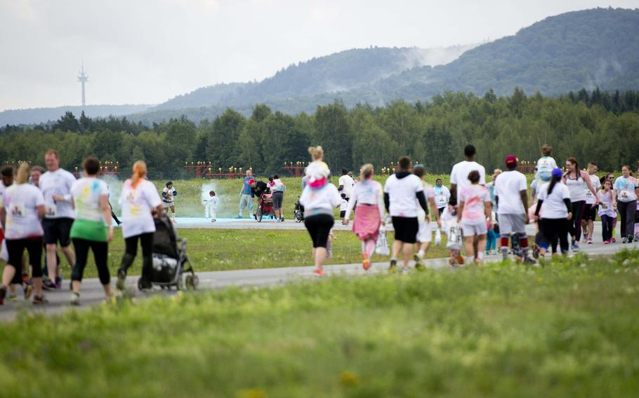 Almost 400 participants race during the annual Color Run at Ramstein Air Base, Germany, on Saturday, Aug. 12, 2017.