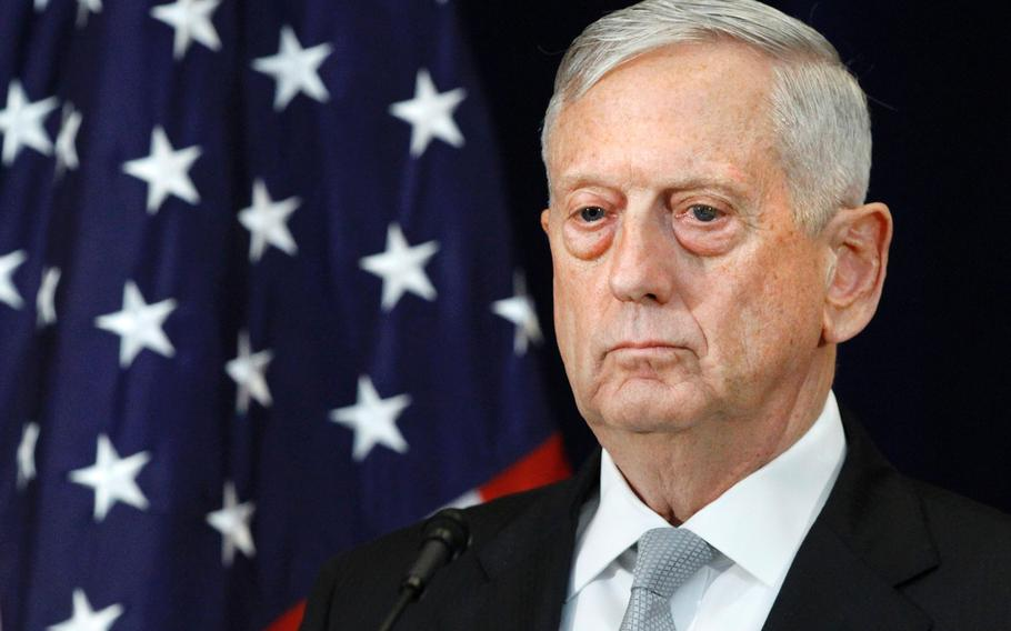 Defense Secretary James Mattis attends a briefing Thursday, Aug. 17, 2017, at the State Department in Washington.