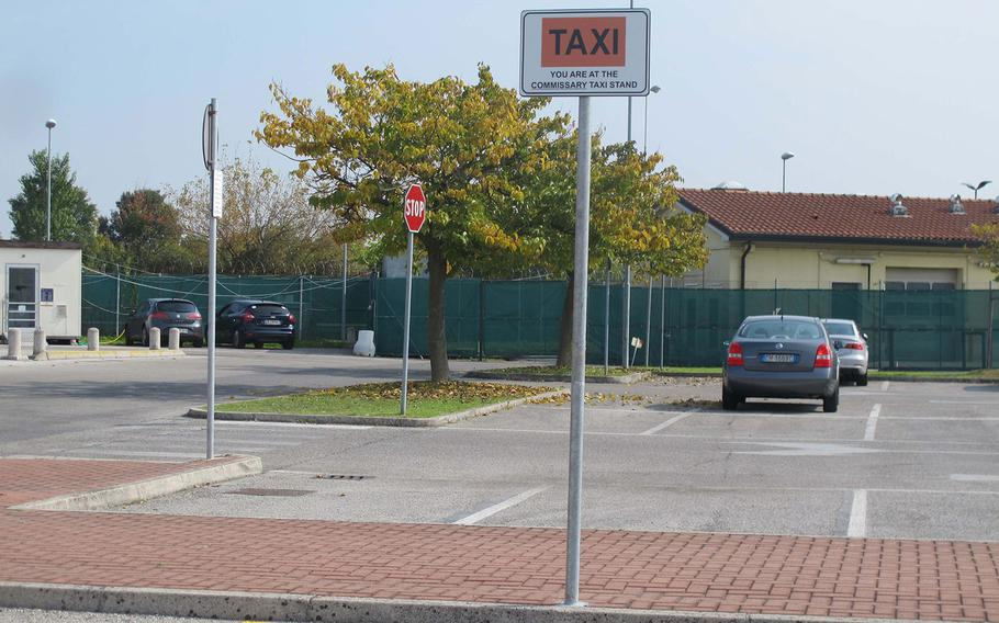 A taxi stand outside the commissary on Caserma Ederle in Vicenza, Italy, is shown on Wednesday, Oct. 4, 2017.