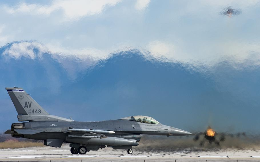 An  F-16 Fighting Falcon from the 510th Fighter Squadron prepares for take off at Aviano Air Base, Italy, March 7, 2017.
