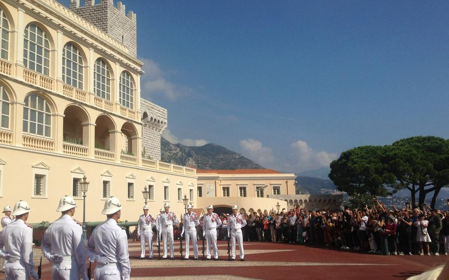 Monaco's tiny army, the Carabiniers du Prince, during a change of guard ceremony in September 2017. The force, which numbers just 119 men, is one of the smallest in the world. Although France is the guarantor of Monaco's defense, the Carabiniers are equipped and trained to handle everything from soccer riots to terrorist attacks.