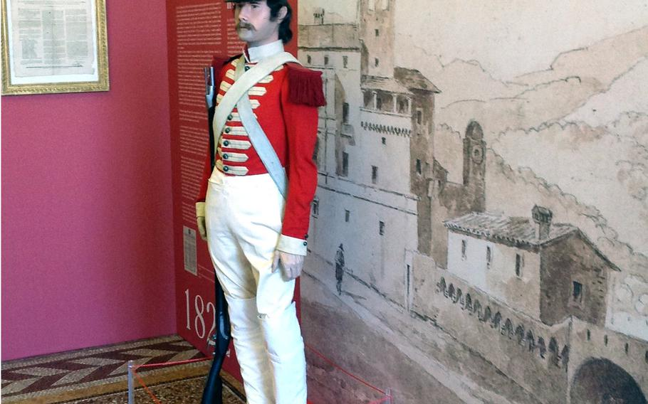 A museum inside the royal palace in Monaco features historical uniforms and weapons of the Carabiniers du Prince, Europe's second-smallest army.