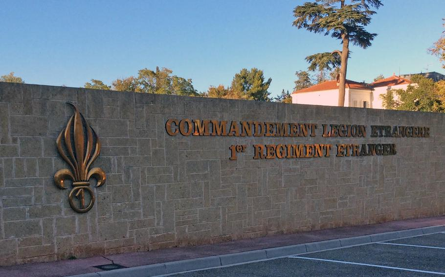 Entrance to the Foreign legion's headquarters compound in Aubagne, southern France. The exploding grenade with the seven flames has been the Legion's symbol throughout its long history.