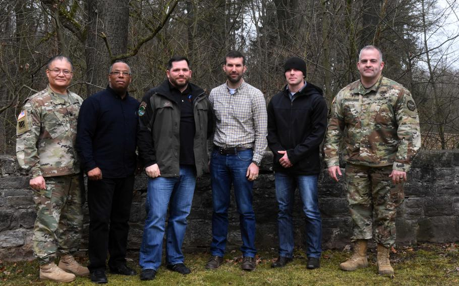 Americans who went through a recent German hunting class, to be knighted into a German hunting club, are seen at U.S. Army Garrison Ansbach, Germany, on Friday, March 9, 2018.