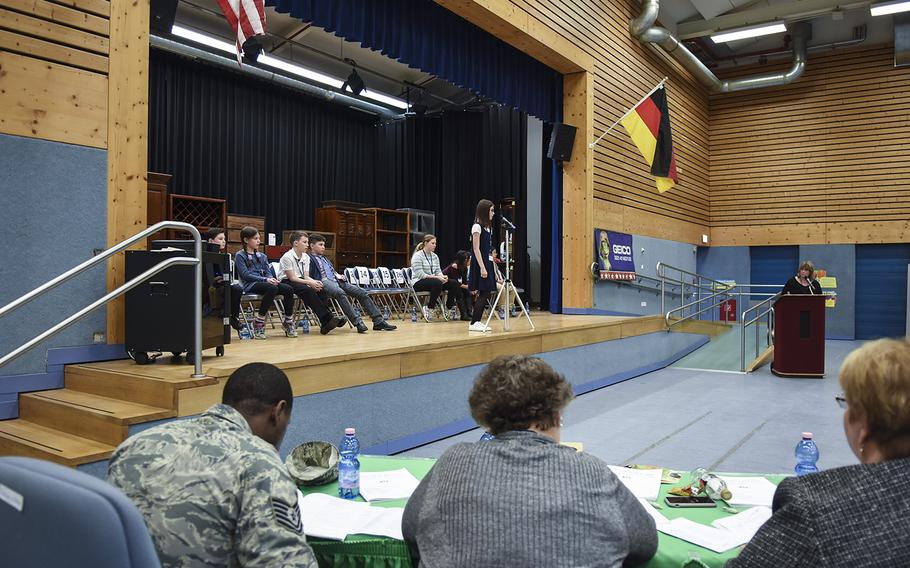 Twenty-seven students from military schools across Europe participated in the 35th Annual European Spelling Bee on Saturday, March 10, 2018, at Ramstein Air Base, Germany.