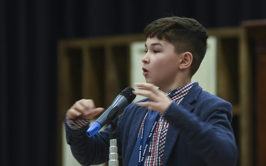 Jonnen Messer, a fifth-grader at Ramstein Intermediate School, reacts after winning the 35th Annual European PTA Spelling Bee on Saturday, March 10, 2018, at Ramstein Air Base, Germany.