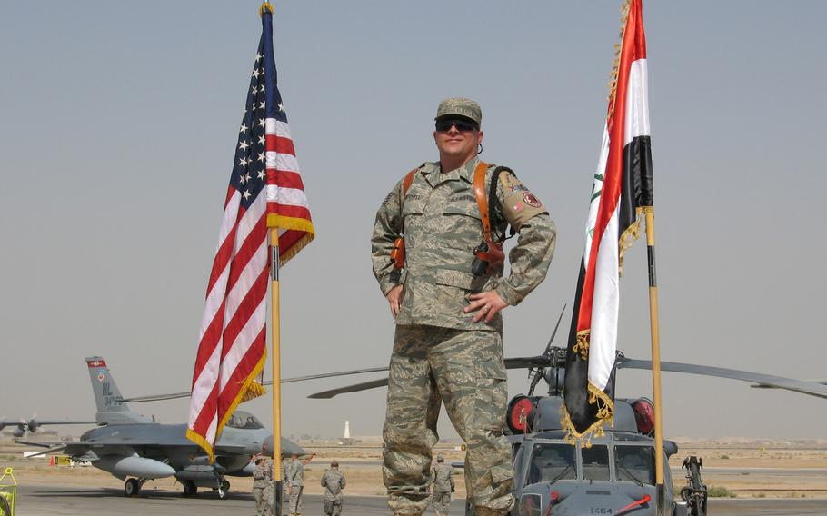 Master Sgt. Jerred Mitchell is pictured during a deployment to Iraq in 2008. An NCO assigned to Ramstein Air Base, Germany, Mitchell nearly was forced to retire for medical reasons just shy of 20 years, which would have meant no pension. He'll medically retire in August, three months after his 20-year mark.