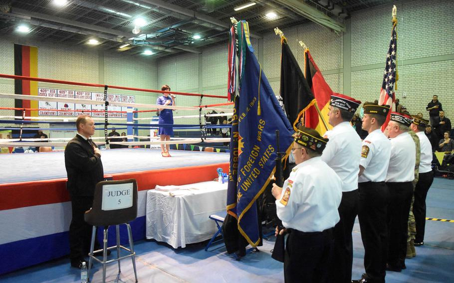 Veterans from the VFW in Grafenwoehr, Germany present the colors during the U.S. Army Garrison Bavaria St. Patrick's Day Boxing Invitational, Saturday, March 17, 2018, at Vilseck, Germany.