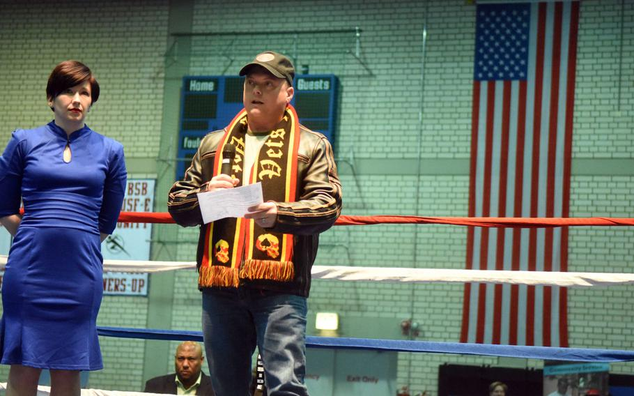 Sergeant Major Micheal Sutterfield, the sergeant major of U.S. Army Garrison Bavaria speaks at the Garrison St. Patrick's Day Boxing Invitational, Saturday, March 17, 2018, at Vilseck, Germany.