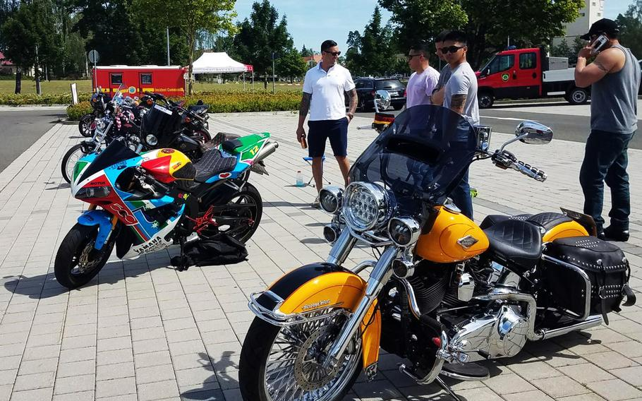 Motorcycles are on display at the Independence Day car show at Grafenwoehr, Germany, Wednesday, July 4, 2018.