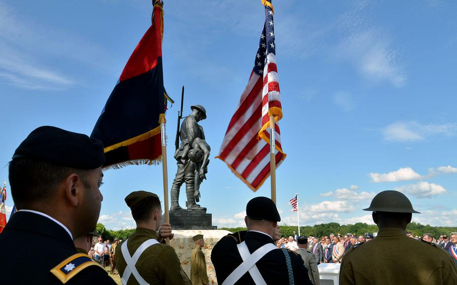 A ceremony at the 42nd Infantry Division's memorial in France, marked the 100th anniversary Battle of Croix Rouge Farm.