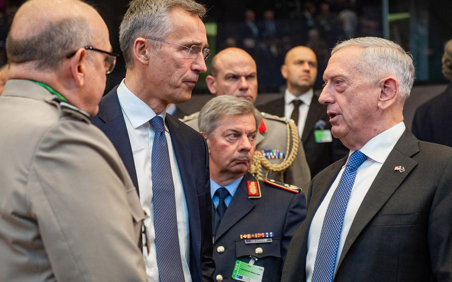 Air Chief Marshal Sir Stuart Peach, chairman of the NATO Military Committee; NATO Secretary General Jens Stoltenberg; and Secretary of Defense Jim Mattis at a NATO defense ministers meeting in Brussels, Oct. 4, 2018.