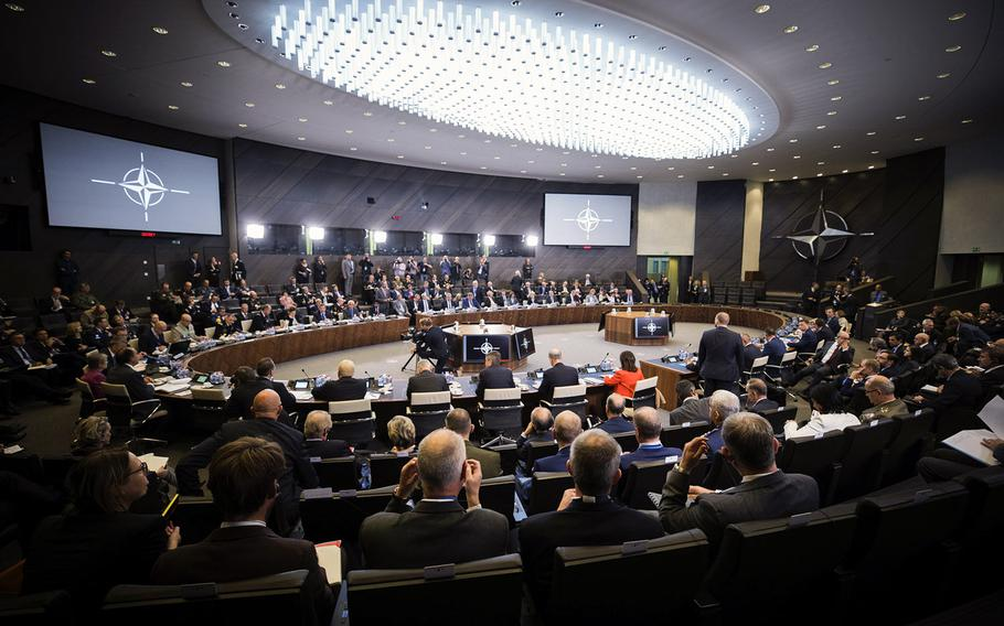 A view of the NATO defense ministers meeting in Brussels, Oct. 4, 2018.