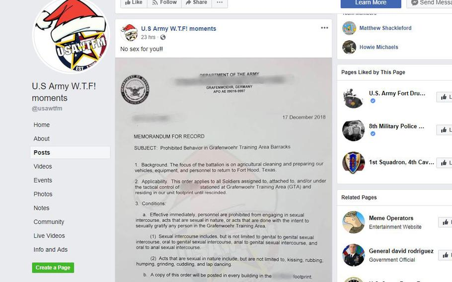 A screen grab shows the Memorandum for Record providing guidelines on restricted behavior at the Grafenwoehr Training Area in Germany as seen posted on the U.S. Army W.T.F! moments' Facebook page.