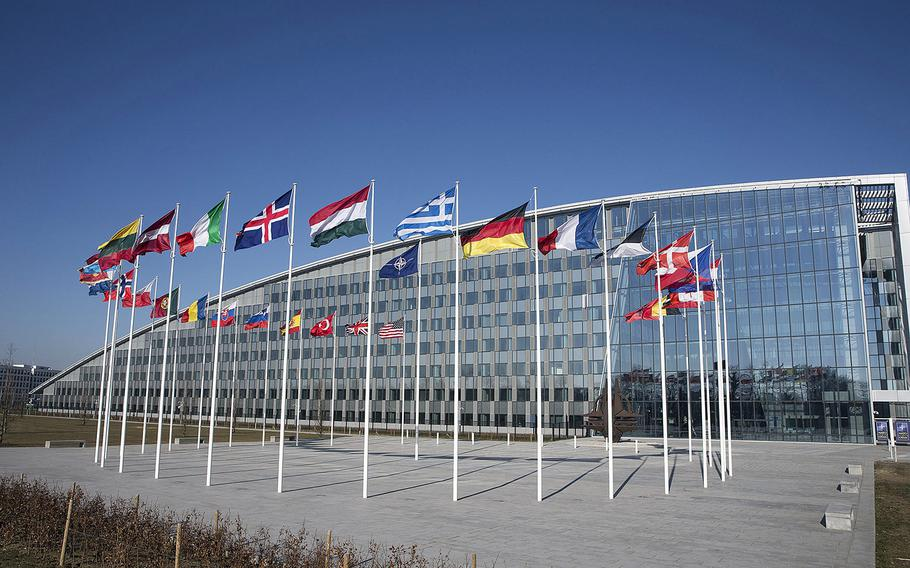 A view of  NATO headquarters in Brussels. Macedonia was formally invited Wednesday, Feb. 6, 2019, to join NATO and  become the alliance's 30th member.