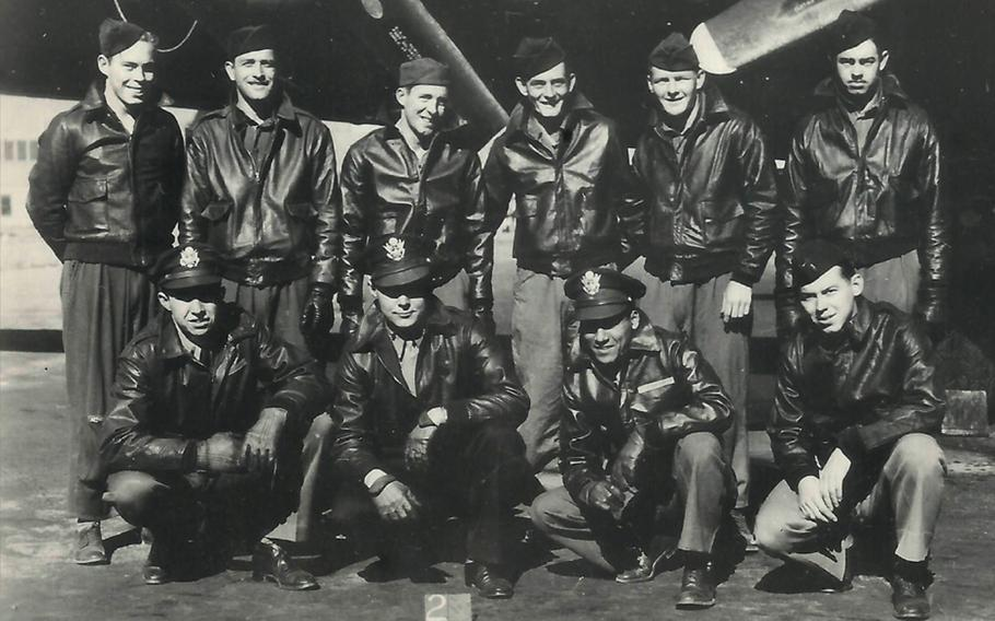"""The crew of a B-17 Flying Fortress nicknamed """"Mi Amigo,"""" of the 305th Bomb Group. Back Row: Robert Mayfield, Vito Ambrosio, Harry Estabrooks, George Williams, Charles Tuttle, Maurice Robbins. Front Row: John Kriegshauser, Lyle Curtis, Melchor Hernandez, John Humphrey."""