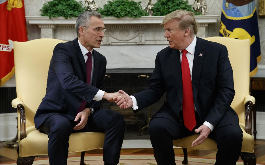 President Donald Trump shakes hands with with NATO Secretary General Jens Stoltenberg during a meeting in the Oval Office of the White House, Tuesday, April 2, 2019, in Washington.