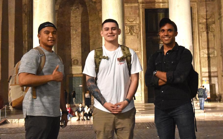 Sgt. Sovanarith Sok, from left, stands with teammates Spc. Damon Berry and Sgt. Joshua Ham at the Pantheon in Rome on April 25, 2019, during the BOSS Challenge, a race that required teams to visit 18 historical sites in northern and southern Italy. This team won the competition.