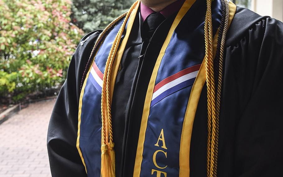 Army Staff Sgt. Andrew Scarboroughreceived a bachelor's degree in computer networking and cyber security from UMUC Europe on Saturday, May 4, 2019, at Ramstein Air Base, Germany. Scarborough earned a 4.0 GPA, finishing his degree some 18 years after he first started college.